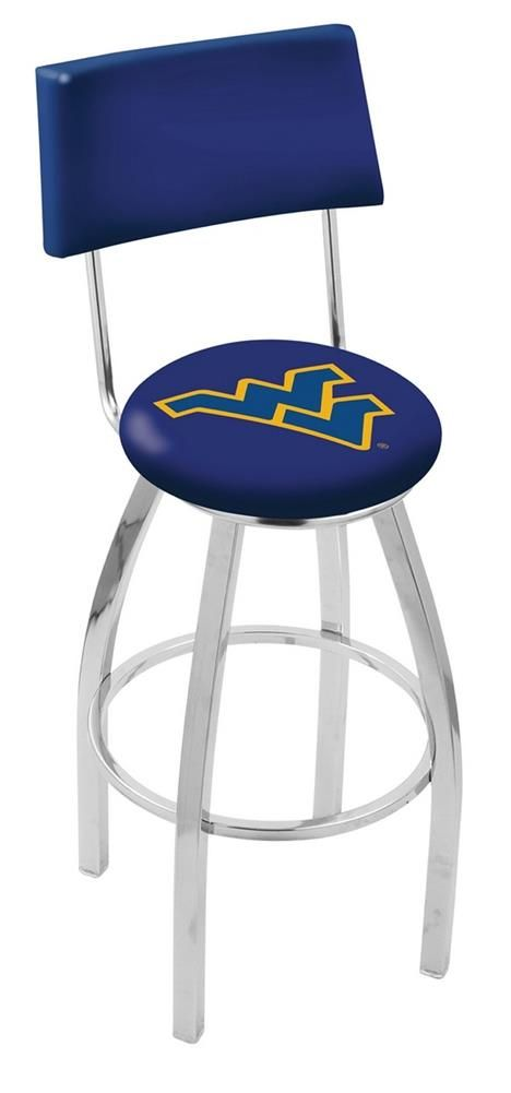 West Virginia Mountaineers Barstool Chrome Bar Stool With Back