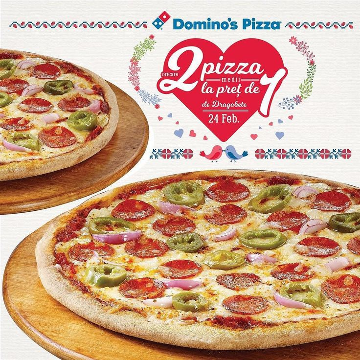 Si de Dragobete ai oricare 2 pizza medii la pret de 1! Comanda oferta exclusiv online pe site-ul sau prin aplicatia Domino's Pizza Romania