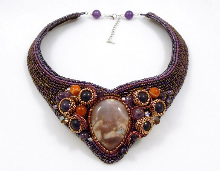 Red Aventurine and Amethyst collar necklace. One of a kind.