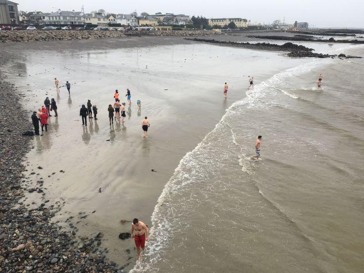Irish Christmas swimming in the Atlantic Ocean.