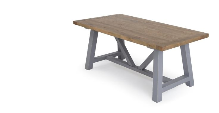 Iona Compact Dining Table, Solid Pine and Pebble Grey | made.com