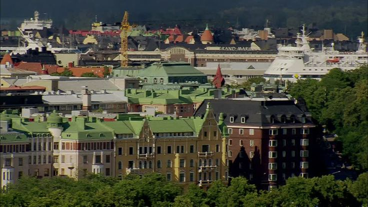 Apartment living is extremely common for the Finns. This photograph of Helsinki shows apartment buildings in a very popular area of the city.