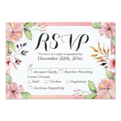 #floral - #Modern Watercolor Floral Script Wedding RSVP Reply Card