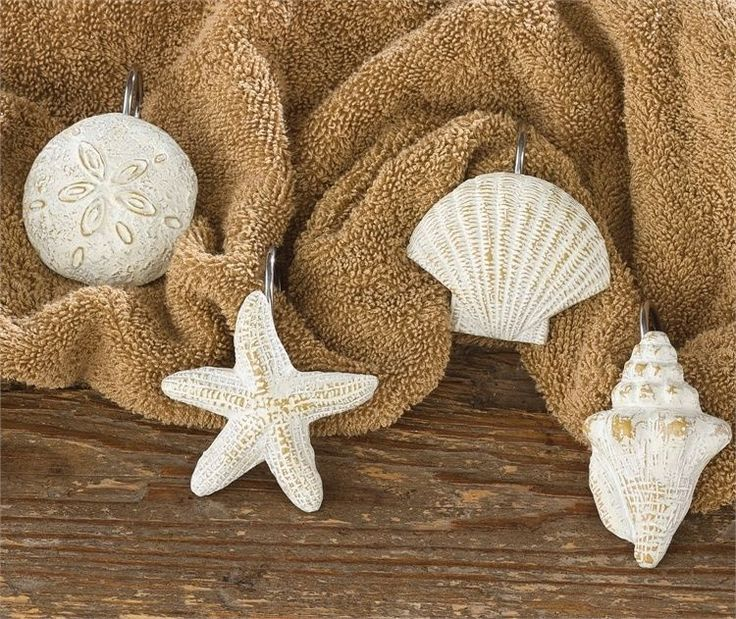 Park Design Shell Sea Shells Shower Curtain Hooks Holder Beach House  Bathroom 12