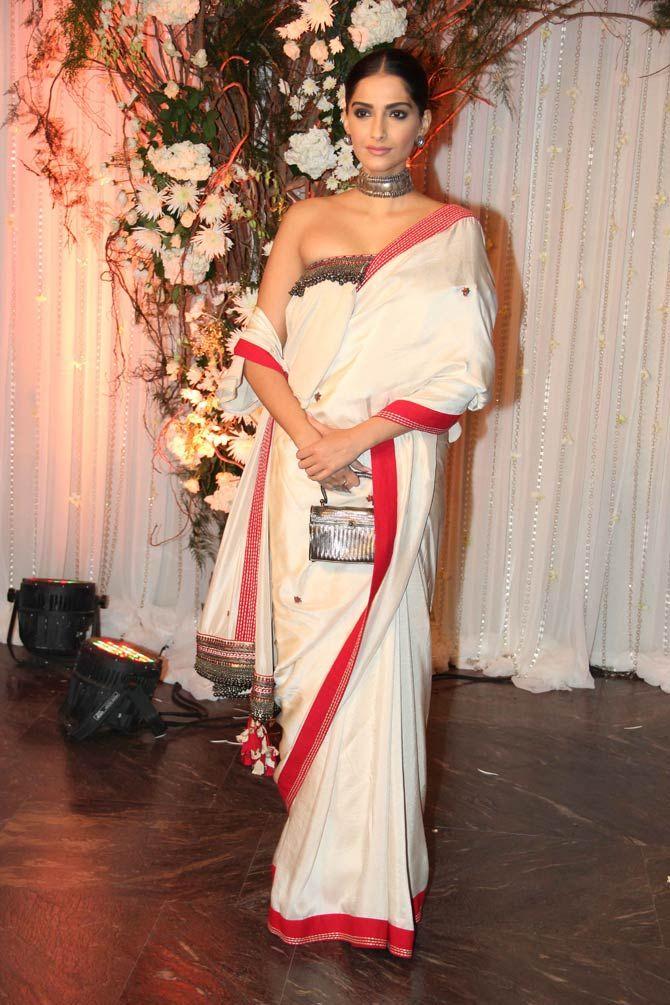 Sonam Kapoor at Bipasha Basu, Karan Singh Grover's wedding reception. #Bollywood #Fashion #Style #Beauty #Hot #Wedding