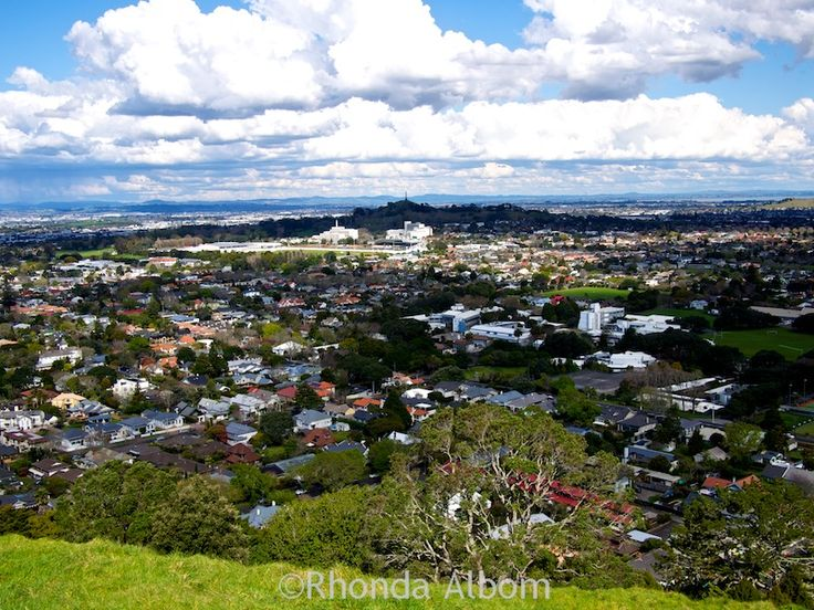 View to the east including One Tree Hill, from the Mount Eden Volcano, Auckland New Zealand