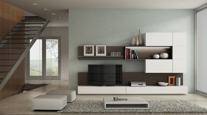 mueble moderno sala wenge y blalnco