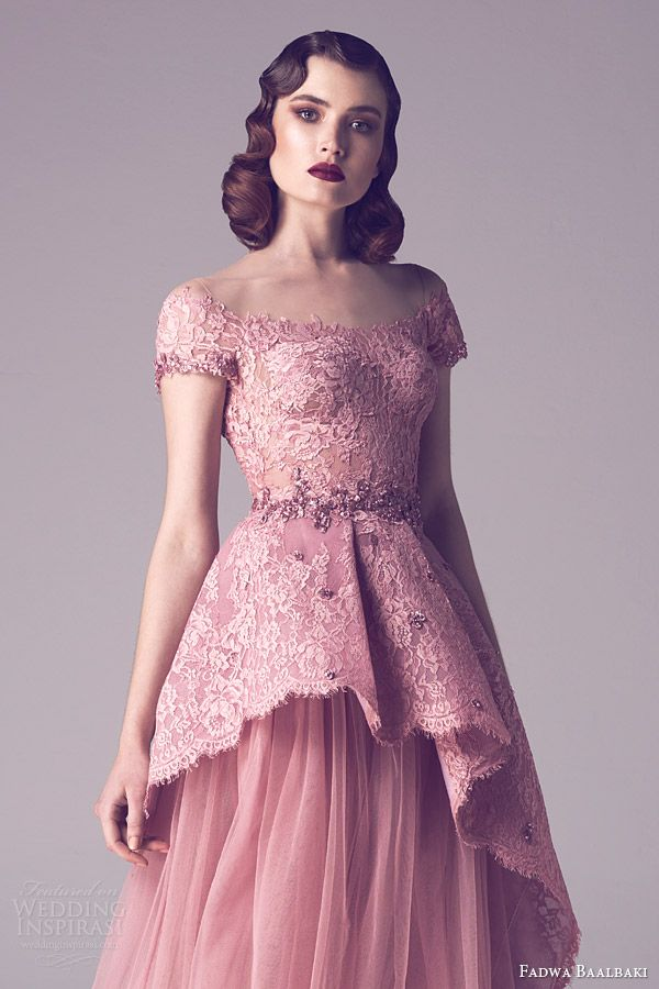 fadwa baalbaki spring 2015 couture cap sleeve pink blush lace peplum bodice gown close up detail