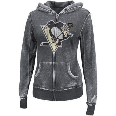 Majestic Pittsburgh Penguins Ladies Delayed Call Full Zip Hoodie - Black.  Jamie for Dave