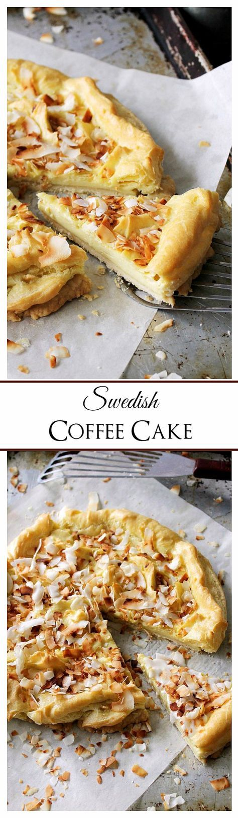 Swedish Coffee Cake - Delicious and buttery pie crust topped with a pastry mixture, a sweet glaze, and toasted coconut.