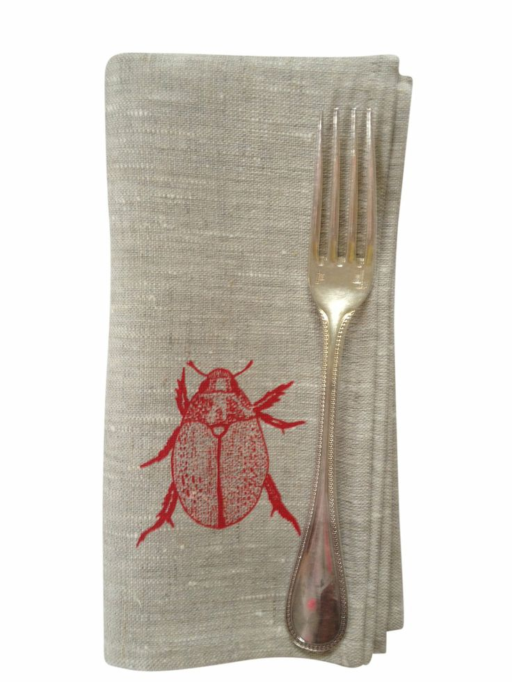 Christmas Beetle napkins. Red beetle on natural linen x4 from Aqua Door Designs via The Third Row