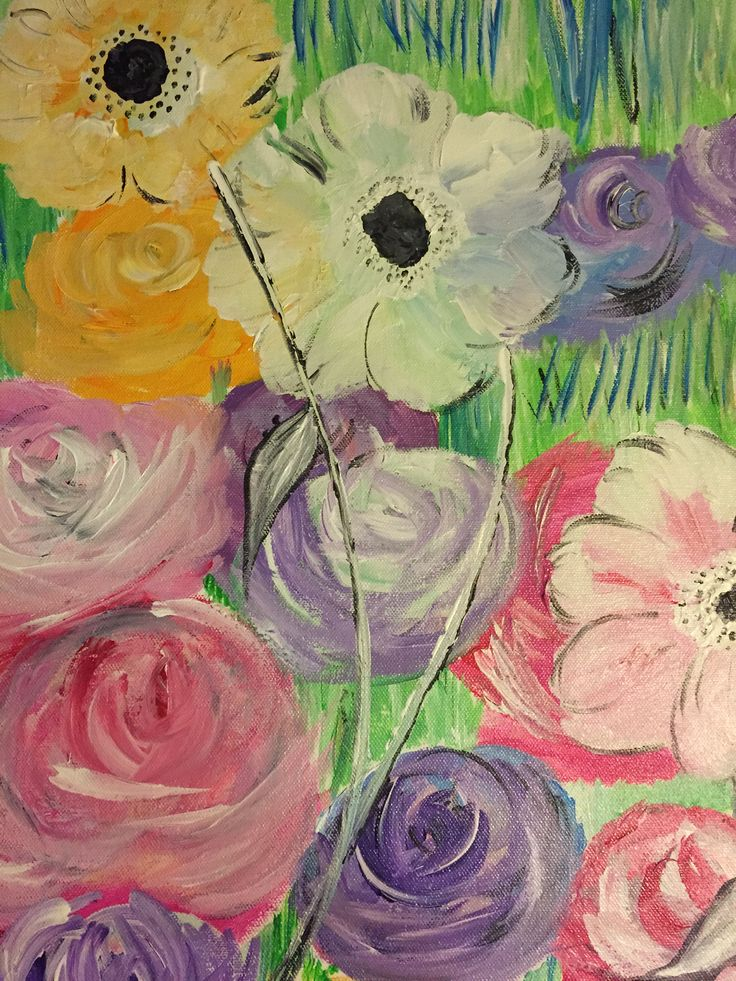 #floral #acrylics #magnolias #poppies #sunflowers