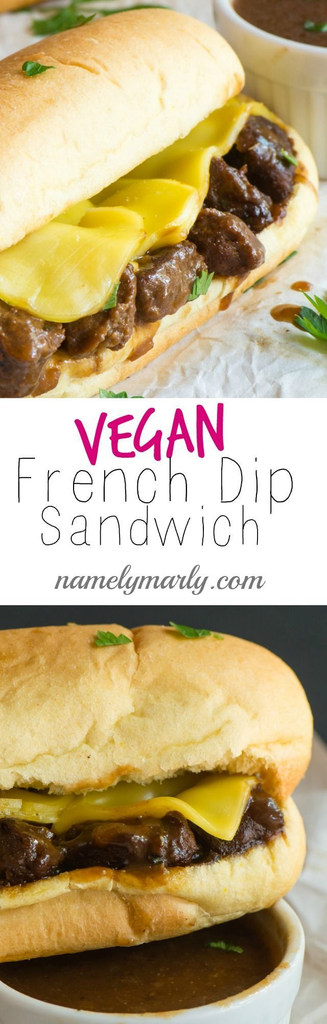The best Vegan French Dip Sandwich because it's so easy to make and a perfect weeknight meal. This savory sandwich is vegan, easy, and delicious!