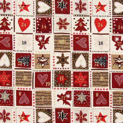 Kalendarz adwentowy 2 - Bawełna - czerwień karminowa