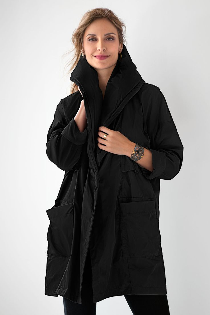 Parker Jacket by Planet . Mixing outerwear inspiration with Planet's signature flair, this sophisticated jacket is a versatile piece for cool autumn days. The focal point is a fabulously cozy puffed shawl collar that doubles as a hood.
