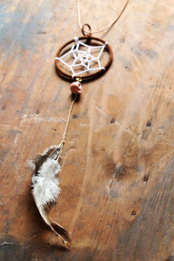Dreamcatcher Necklace pink skull and feathers by DesertGypsea