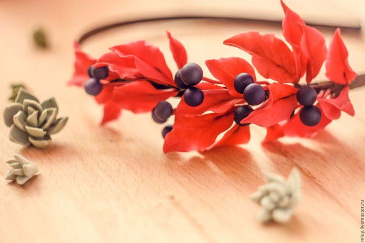 """Купить Обруч """"Дикий виноград"""" - ярко-красный, красный цвет, яркое украшение, богемный стиль"""
