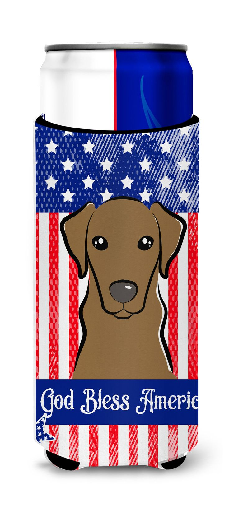 God Bless American Flag with Wirehaired Dachshund Michelob Ultra Beverage Insulator for slim cans BB2163MUK