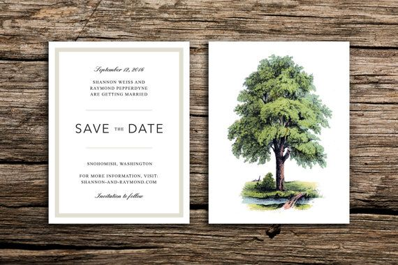 Our Modern Tree Wedding Invitation set pairs crisp, modern text with vintage botanicals. Perfect for a casually elegant wedding in the woods or city park. The last photograph shows the matching save the date, available here: https://www.etsy.com/listing/242595949/modern-tree-save-the-date-oak-trees?ref=shop_home_active_1  // PAPER AND PRINTING // Each invitation card measures 5 by 7 inches and each reply card measures 5.5 by 4.25 inches. We print on premium 14 pt white or natural (your…