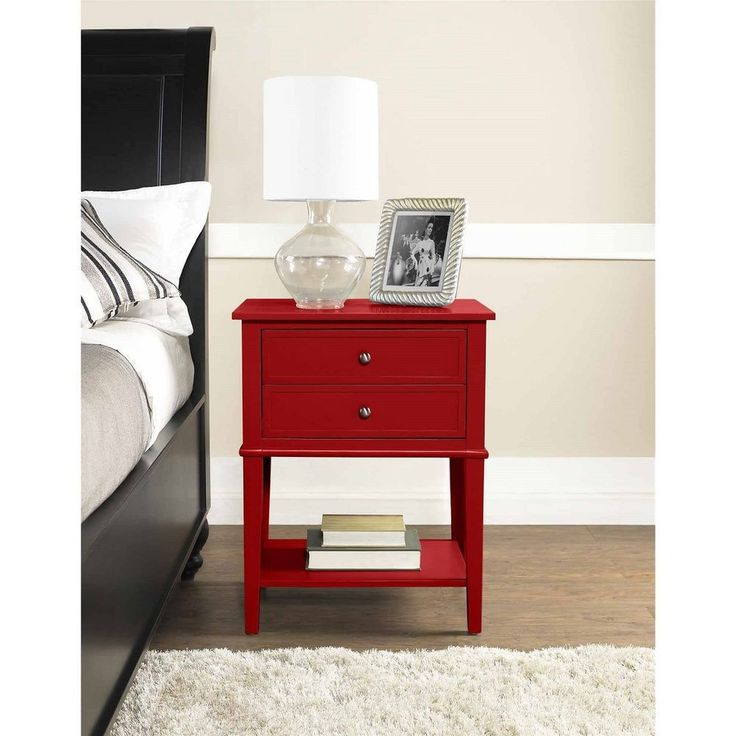Red Accent Table Side End Nightstand Furniture With 2 Drawers And Display Shelf #Altra #Contemporary
