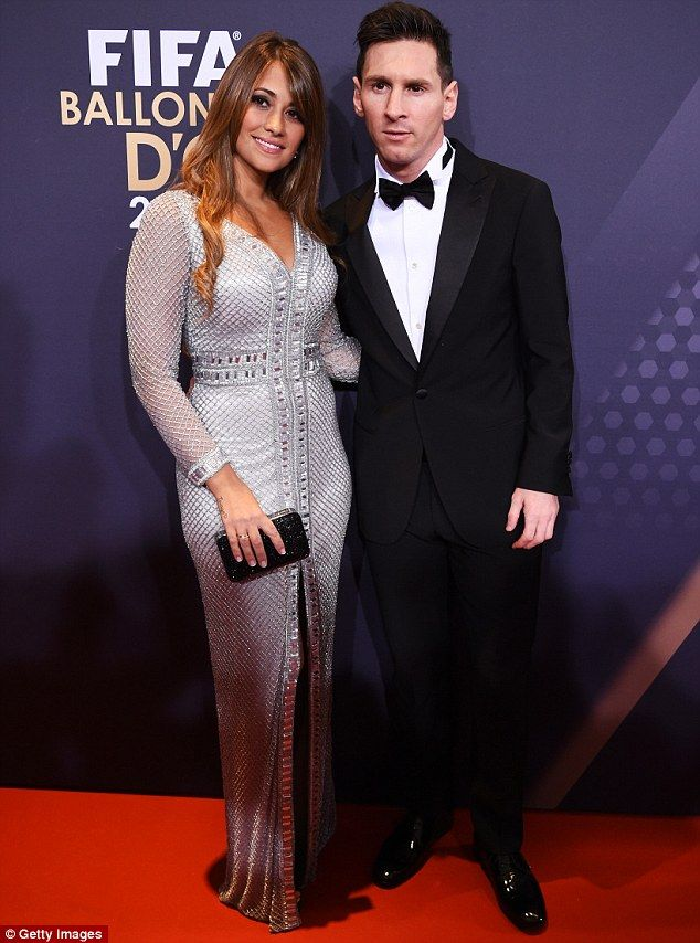 All that glitters: Lionel Messi was upstaged by his partner Antonella Roccuzzo  at FIFA Ballon d'Or 2015 Awards