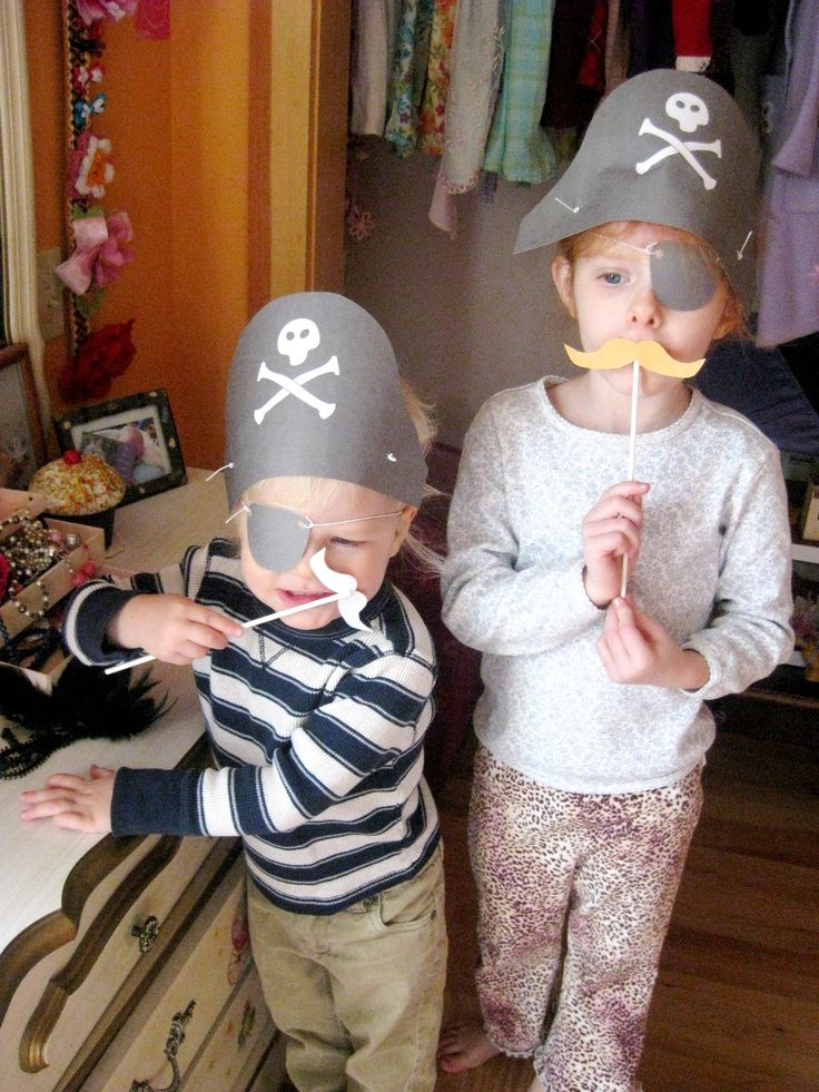 pirate hat, eye patch, & mustache template - Click on link.