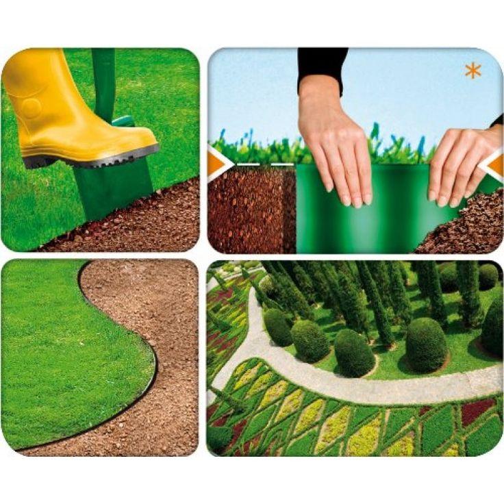 Flexible Garden Lawn Grass Edge 9m X 200mm Brown Edger Edging Border Wall