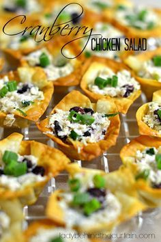 I made this Cranberry Chicken Salad for a ladies luncheon and stuffed it into Wonton Salad Cups.  You can serve this salad on a bed of lettuce, Mini Slider