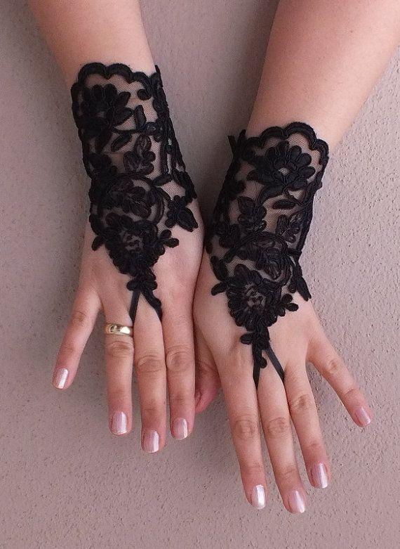 Siyah Düğün eldivenleri fransız dantel eldiven Etsy geranum tarafından gelinlikler