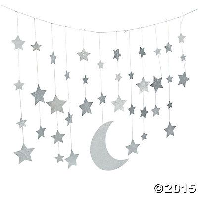 Camp glam glitter moon stars garland garland party for Arabian decoration materials trading