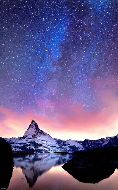 Starry sky over Matterhorn, Switzerland
