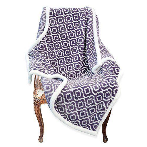 Napa Super Soft Moroccan Fleece Throw Blanket Purple Lightweight Couch Warm Bed #Napa