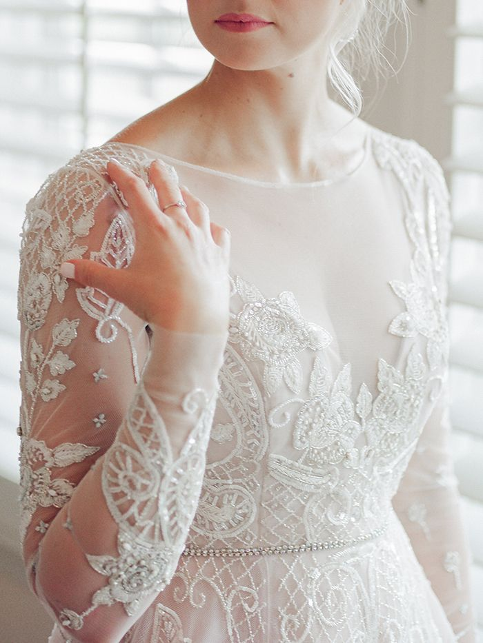 Beaded Long Sleeve Wedding Dress with an Illusion Neckline