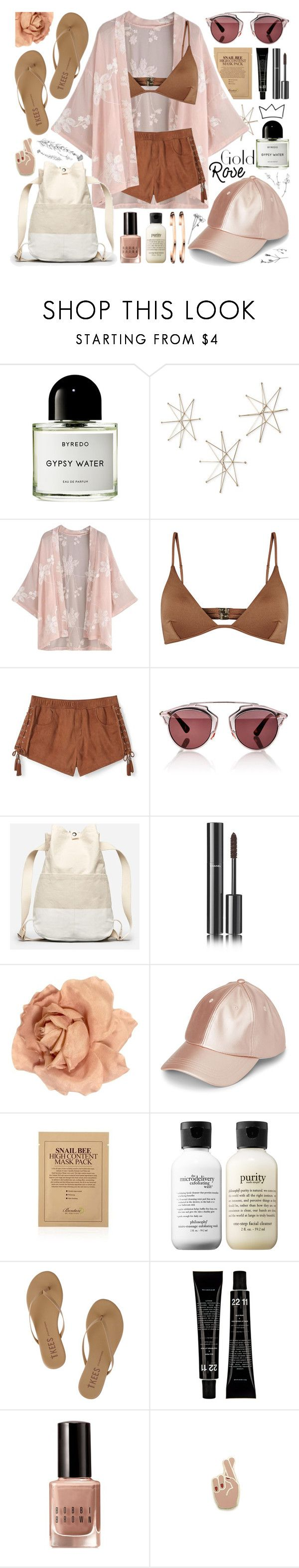 """beach life kimono bikini // #165"" by jk802 ❤ liked on Polyvore featuring Byredo, Uttermost, Melissa Odabash, Rebecca Minkoff, Christian Dior, Everlane, Chanel, philosophy, Tkees and Bobbi Brown Cosmetics"