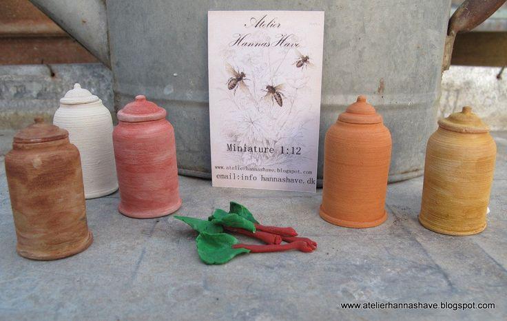 Miniature Rhubarb pots 1:12 by AtelierHannasHave on Etsy