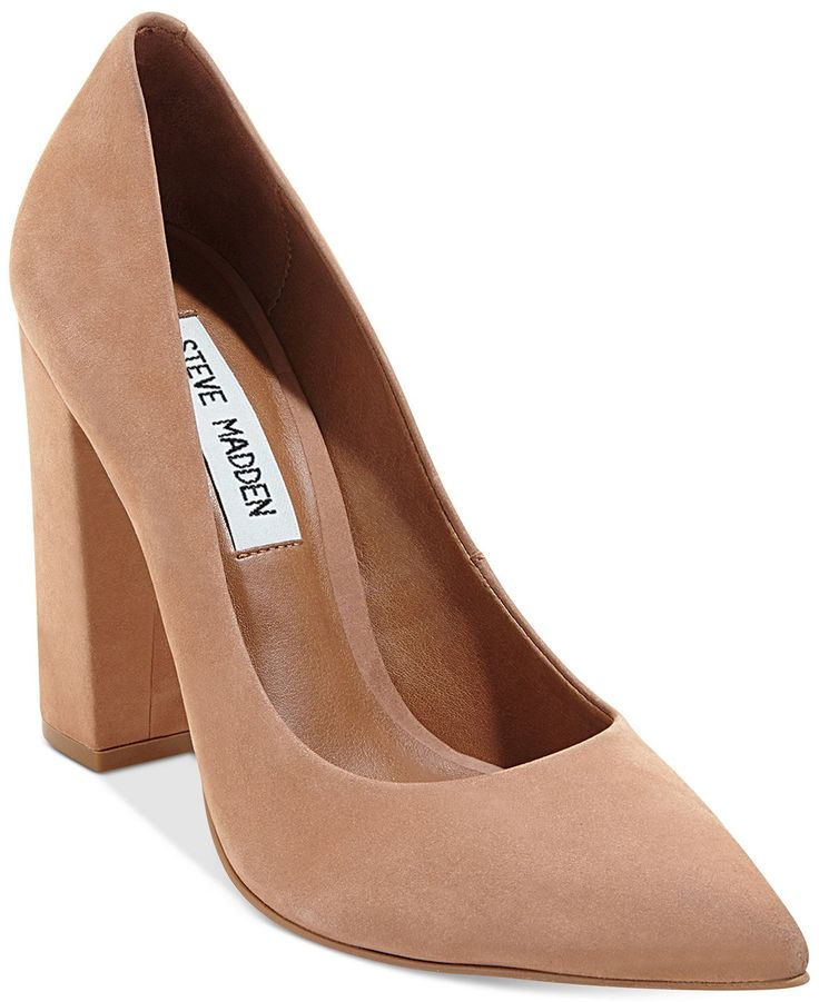 An updated classic for the office, Steve Madden's Primpy pumps feature almond toe styling and a chunky block heel for a go-to look. | Nubuck leather upper; manmade sole | Imported | Almond closed-toe