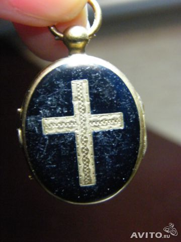 Кулон медальон золото эмаль антикварное крест купить в Москве на ...