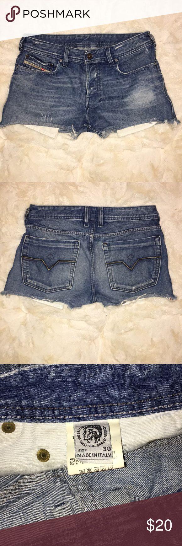"Diesel Denim Shorts Sits on hips.   Rise: 9""  Inseam: 2"" Diesel Shorts Jean Shorts"