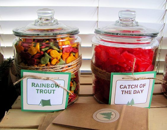 Camping Birthday Party Food Ideas | Candy bar | Campout Party Theme