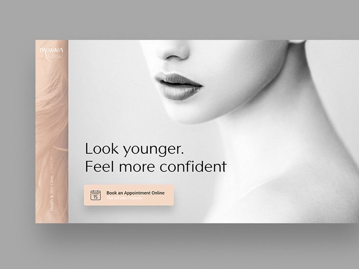 WIP for beauty clinic website. Very first draft, but I already like where it is taking me!