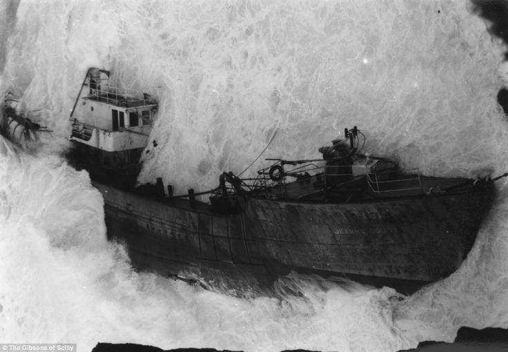 Storm: A French trawler called the Jeanne Gougy pictured being engulfed by waves at Land's End in 1962