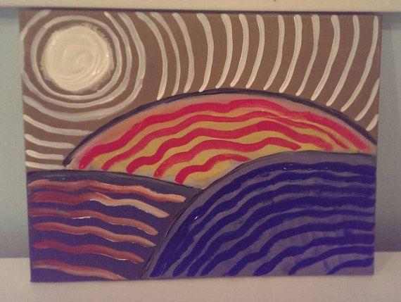 Original abstract acrylic painting on 12x16 by polarizedart