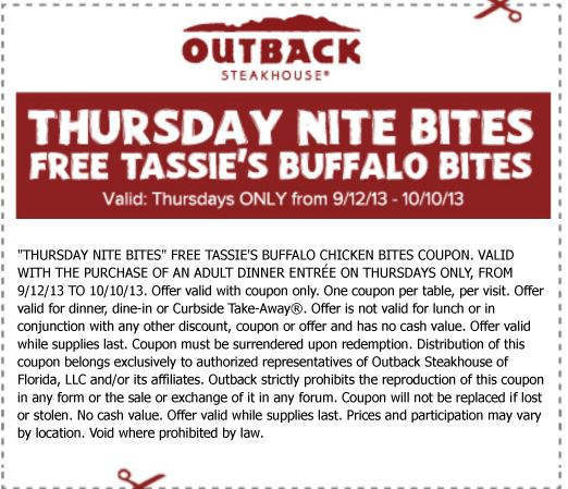 Outback steakhouse online coupons