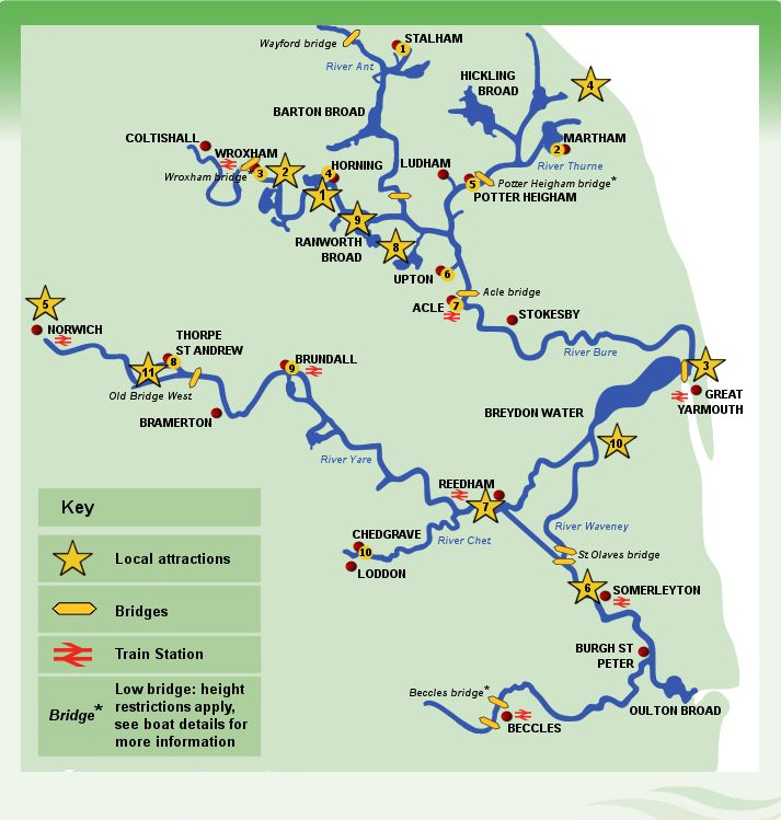 Norfolk Broads Map - Norfolk Broads boat hire interactive map