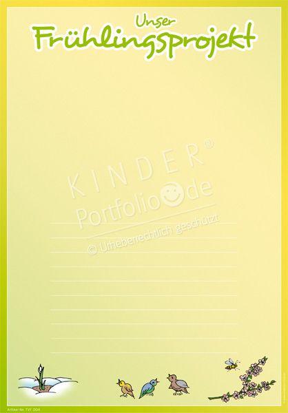 """Kindergarten Portfolio Vorlagen """"Unser  Frühlingsprojekt"""""""