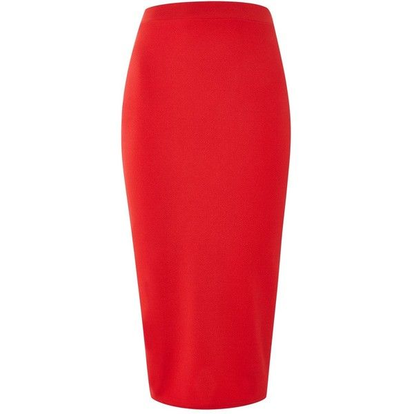 Bodycon Midi Skirt by Tfnc (€29) ❤ liked on Polyvore featuring skirts, red, mid calf skirts, red midi skirt, red bodycon skirt, knee length bodycon skirt and bodycon midi skirts