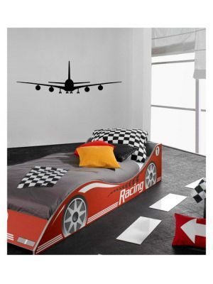 Muursticker velours vliegtuig