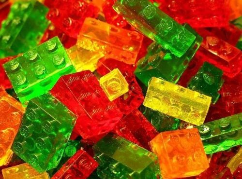 lego jello! @Heather Morris: Gummy Bears, Gummy Candy, Ice Cubes, Birthday Parties, Lego Gummy, Lego Parties, Parties Favors, Candy Moldings, 30Th Birthday