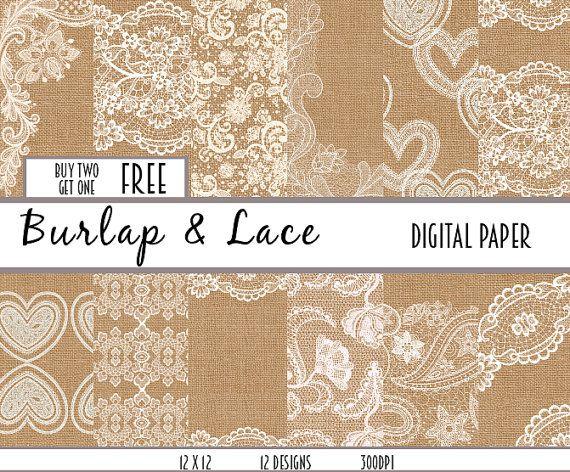 lace burlap digital paper scrapbook paper scrapbooking