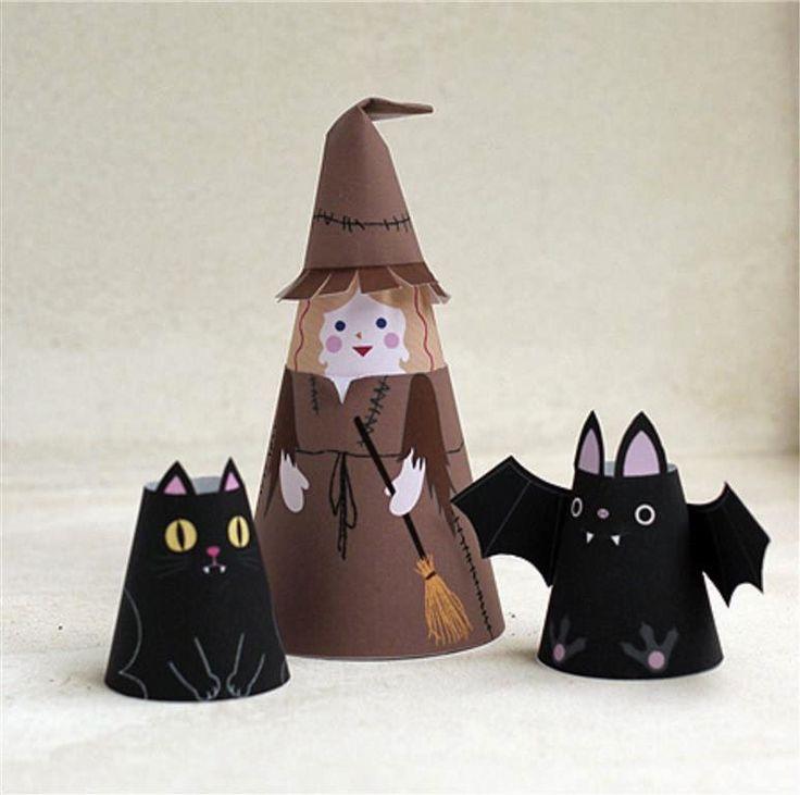 prakarya anak TK/SD, membuat boneka hias dari kertas, gunting tempel, halloween